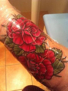 rose tattoo. love the color