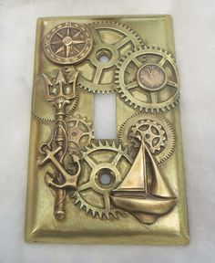 Steampunk Nautical Light Switch Plate made to order by steamheat, $95.00
