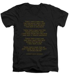 Poem Men's V-Neck T-Shirt featuring the photograph First They Came by Mim White