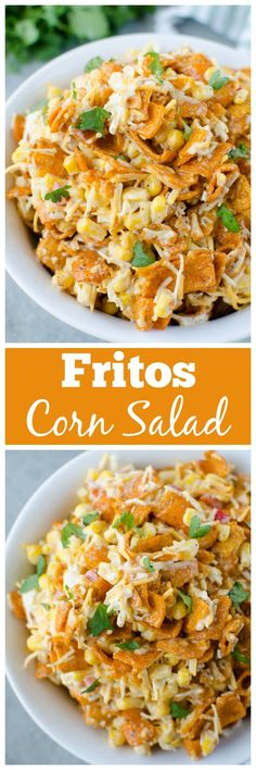 Fritos Corn Salad - crisp corn, bell pepper, cheese, and Chili Cheese Fritos in a creamy dressing. The perfect no cook, super easy summer side dish for all your barbecues! for parties Fritos Corn Salad Fruit Salad Recipes, Chicken Salad Recipes, Mexican Food Recipes, Appetizer Recipes, Dinner Recipes, Appetizers, Dinner Ideas, Food Dishes, Side Dishes