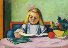 August Macke, Blondes Mädchen mit Buch  (1911)