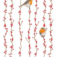 Red Birds (eating berries) fabric by verycherry on Spoonflower - custom fabric **** this fabric goes around the cage with (cheaper) red as the base.***