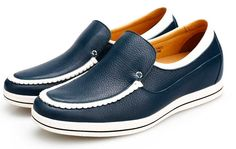 New Fashion Style Men Causal Cow Leather Tom Cruise Elevator Shoes Blue Look Taller 5.5CM/1.95Inch is the best comfortable height increasing shoes in the world.