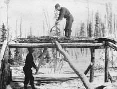Two men whipsawing lumber, possibly at Bennett, British Columbia, ca. White Tractor, Green Woodworking, Antique Tools, Post And Beam, Mountain Man, Old West, Back In The Day, British Columbia, Old Things
