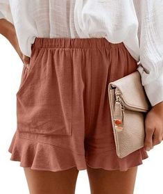 7 Perfect Summer Shorts Outfit Ideas for Every Style - DIY Darlin' - - Today I am sharing with you a few summer shorts outfit ideas. Find inspiration for your summer shorts outfits with my list of comfort meets style. Short Outfits, Summer Outfits, Cute Outfits, Short Dresses, Ruffle Shorts, Cotton Shorts, Soft Shorts, Mode Shoes, Diy Vetement