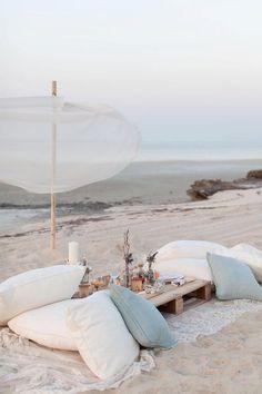 Beach wedding pillow seating. Source: valleyandco.com #weddingseating #pillowseating #beachwedding #beachWeddings
