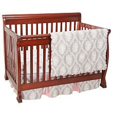 My Baby Sam Olivia Rose 3 Piece Crib Bedding Set - Gray/Pink  - <3  This is the one.  :)