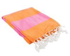 Hamptons Fouta Towel - Magenta/Orange