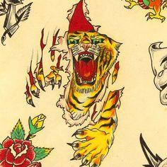 Tiger Tattoo, Tattoo Ink, Arm Tattoo, Traditional Tattoo Horse, American Traditional, Neo Traditional, Vintage Tattoo Design, Old School Tattoo Designs, Art Deco Print