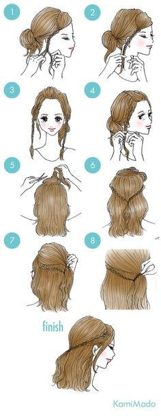 braided tie back Cute Simple Hairstyles, Pretty Hairstyles, Cute Hairstyles, Braided Hairstyles, Mode Poster, Hair Arrange, Hair Dos, Hair Designs, Hair Hacks