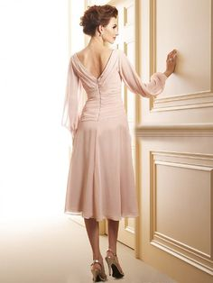 A-Line/Princess V-neck Tea-Length Ruffle Beading Cascading Ruffles Chiffon Zipper Up Sleeves Long Sleeves No Summer Fall Winter Mother of the Bride Dress Prom Dresses Uk, Wedding Gowns With Sleeves, Modest Wedding Dresses, Designer Wedding Dresses, Bridal Dresses, Elegant Dresses, Prom Dresses Under 200, Tea Length Dresses, Dress Images