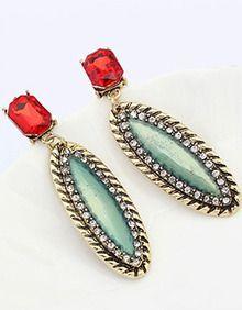 Red Gemstone Gold Vintage Earrings