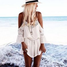 Women Straps Halter Crochet Playsuits Summer Beach Jumpsuits Romper - Jumpsuit - Women's Clothing - Clothing,Shoes & Accessories -Free Shipping for all to over 200 countries on Malloom.com