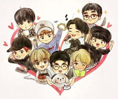 EXO <credits to owner> Exo Anime, Anime Chibi, Namjin, Kyungsoo, Chanyeol, Exo Kai, Jikook, Exo Cartoon, Exo Stickers