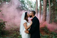 A Wooded Fairytale Wedding Portraits Session from Lilly and Lilly Photography with smoke bombs!
