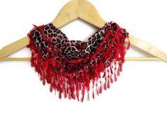 RED Leopard Scarf Cotton ScarvesRed Black Summer by scarvesCHIC, $12.90
