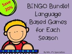This BUNDLE is the perfect set for practicing language all year long while saving money!! These 4 BINGO games build vocabulary while students practice answering questions. All of the questions and vocabulary are based on seasonal activities and holidays. These game will help students practice answering WH questions and increase their labeling repertoire.  Perfect way to combine science and ELA!  There is one game set included for each season. There are 4 sets in all.