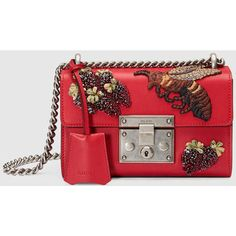 Gucci Padlock Embroidered Shoulder Bag ($2,175) ❤ liked on Polyvore featuring bags, handbags, shoulder bags, red leather purse, leather shoulder handbags, red handbags, top handle handbags and sequin purse