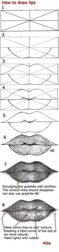 Delineate Your Lips - Tutorial draw lips by lamorghana on deviantART - How to draw lips correctly? The first thing to keep in mind is the shape of your lips: if they are thin or thick and if you have the M (or heart) pronounced or barely suggested. Drawing Lessons, Drawing Techniques, Drawing Tutorials, Drawing Tips, Art Tutorials, Drawing Sketches, Pencil Drawings, Art Lessons, Painting & Drawing