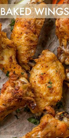 Homemade Crispy BAKED Chicken Wings Recipe The wings become so CRISPY and crunchy on the outside while juicy and tender on the inside you d never know they weren t deep-fried Best Chicken Wing Recipe, Chicken Wing Recipes, Simple Baked Chicken Recipes, Chicken Wing Marinade, Keto Chicken, Rotisserie Chicken, Healthy Chicken, Grilled Chicken, Crispy Chicken Wings