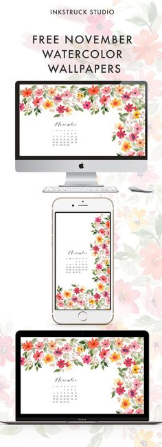 November is here! Download free November watercolor wallpapers on the blog today. Available in both dekstop and mobile options - Inkstruck Studio