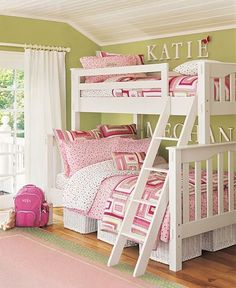 These are the colors in the girls bedroom right now - sage green and shades of pink