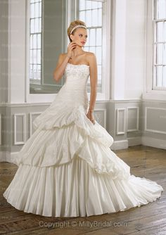 A-line Strapless Beading Chiffon Sweep Train Wedding Dress at Millybridal.com