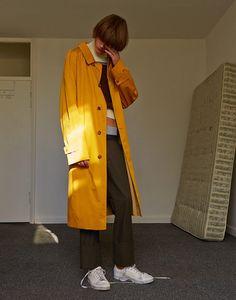 boycott-magazine-11 Fashion Art, Editorial Fashion, Vintage Fashion, Fashion Outfits, Vintage Style, Boyish Girl, Yellow Raincoat, Yellow Fashion, Portrait