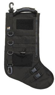 There's no way this is hanging in my house...but it's pretty funny.      $14.99 LA Police Gear Molle Elite Tactical Christmas Stocking - Black