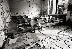 Detroit Photography, Black & White Photo, Abandoned School Classroom, Urban Decay, Michigan Black and White Picture