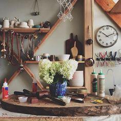 shelves Narrowboat Interiors, Workshop Studio, Home Studio, Interior Inspiration, Ladder Decor, Shelving, Interior Design, Instagram Posts, Jewellery Box