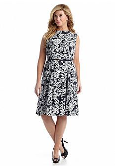 Jones New York Collection Plus Size Fit n' Flare Printed Dress