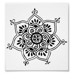 tatuagem tribal da flor de lótus poster