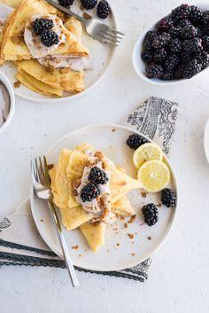 Lemon Ginger Crepes with Blackberry Whipped Cream www.pineappleandcoconut.com
