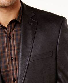 Marc New York by Andrew Marc Men's Slim-Fit Faux-Leather Sport Coat - Black 46R