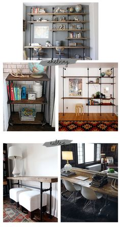 Industrial chic - THAT DESK BEHIND THE COUCH!!!! Definitely could utilize the extra space behind the couch in the upstairs living room!