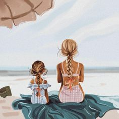 When I was a little girl I LOVED twinning with my mom. Anything she owned I wanted a mini version for myself. I even had a teeny travel… Mother And Daughter Drawing, Mom Daughter, Mother Art, Daughters, Anime Comics, Love Twins, Girly Drawings, Photo D Art, Fashion Mode