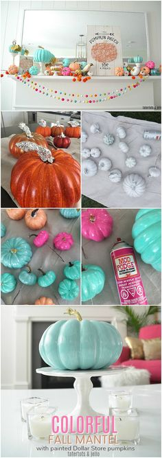 how to paint dollar tree foam pumpkins colorful colors Colorful Fall Mantel with Painted Foam Pumpkins. Paint inexpensive pumpkins bright colors for a unexpected colorful fall mantel! Dollar Tree Halloween, Dollar Tree Fall, Dollar Tree Decor, Dollar Tree Crafts, Halloween Ideas, Dollar Tree Birthday, Halloween Projects, Halloween Party, Dollar Tree Pumpkins