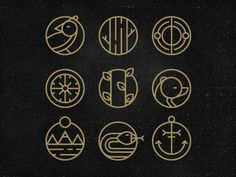 compass/ direction anchor/ ballard wheels/ working minds Pictograms by Andrei Bacter