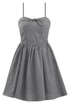 Retro Inspired Gingham Swing Dress in Black & White