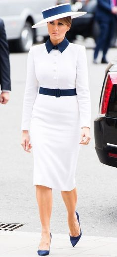 FLOTUS Trump arrives at Westminster Abbey in London, England on June 🇬🇧 Milania Trump Style, Melania Knauss Trump, Malania Trump, First Lady Melania Trump, Black Fire, My Fair Lady, Professional Attire, Spring Summer Fashion, Runway Fashion