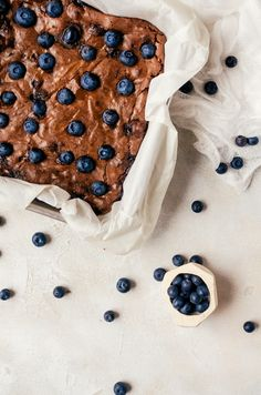 Blueberries and chocolate are the perfect duo. Top these blueberry brownies with a big scoop of ice cream for an unforgettable treat Boxed Brownie Recipes, Fudgy Brownie Recipe, Holiday Cookie Recipes, Best Dessert Recipes, Holiday Baking, Easy Desserts, Cake Recipes, Sweets Recipes, Decadent Chocolate Cake