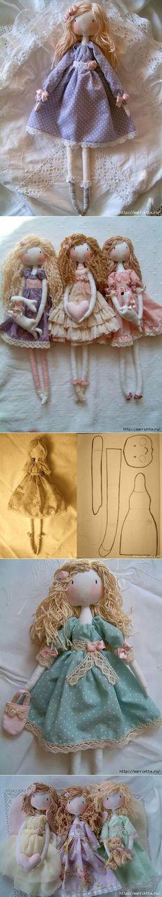 Plantilla para hacer unas lindas muñequitas de tela ✿⊱╮ Más