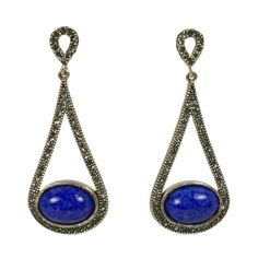 Pave Halo Teardrop with Oval Gemstone Center Earring