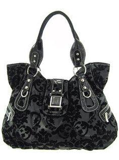 Large Roomy Velvet Coated Damask Print Shoulder Bag Purse Black 42 99