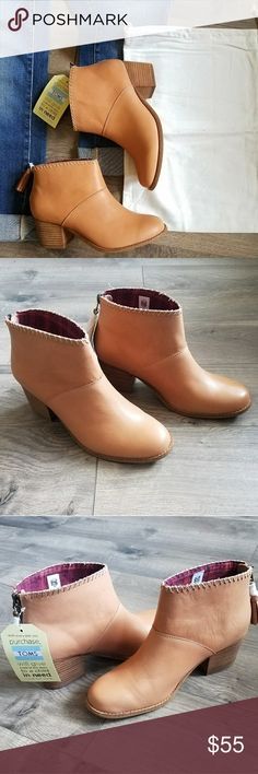 TOMS leather bootie New in box.  TOMS leather booties.  Includes dust bag.  Super cute and versatile. TOMS Shoes Ankle Boots & Booties