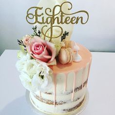 Eighteen Cake Topper Gold Silver Copper By DIYPartiesByRenee