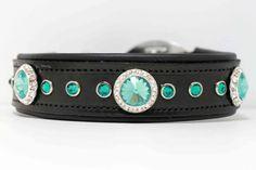 Padded Leather Dog Collar with Swarovski Blue by UrsaMinorDesign