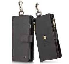 CaseMe 009 iPhone 7 Plus Zipper Wallet Metal Buckle Detachable Folio Case Black