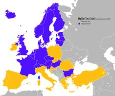 European countries by whether the majority of inhabitants say they believe in God study) (Europe) European Map, European Countries, History Memes, World History, Planet Map, Bible Mapping, Religion, Human Geography, Believe In God